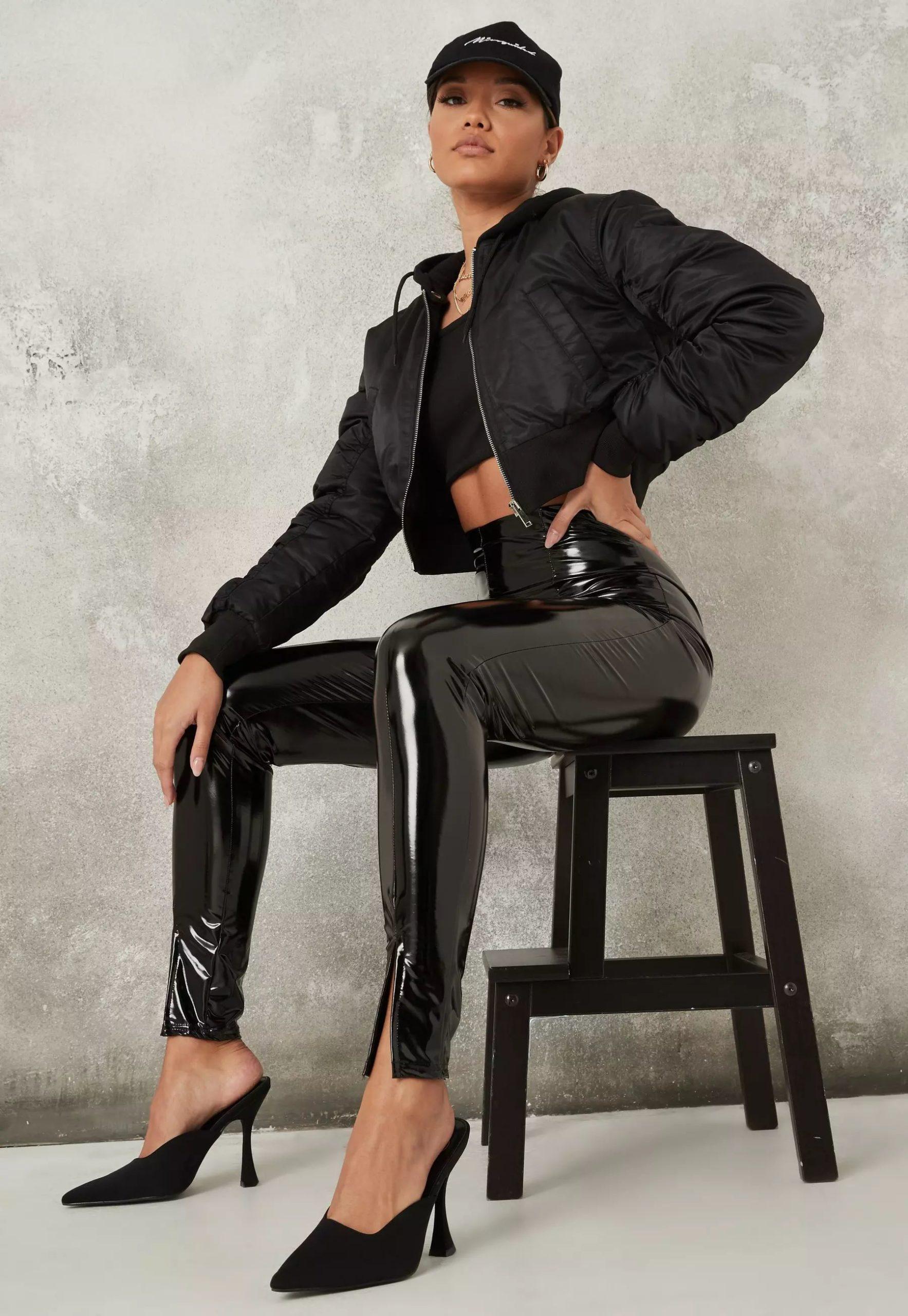 black split front vinyl leggings