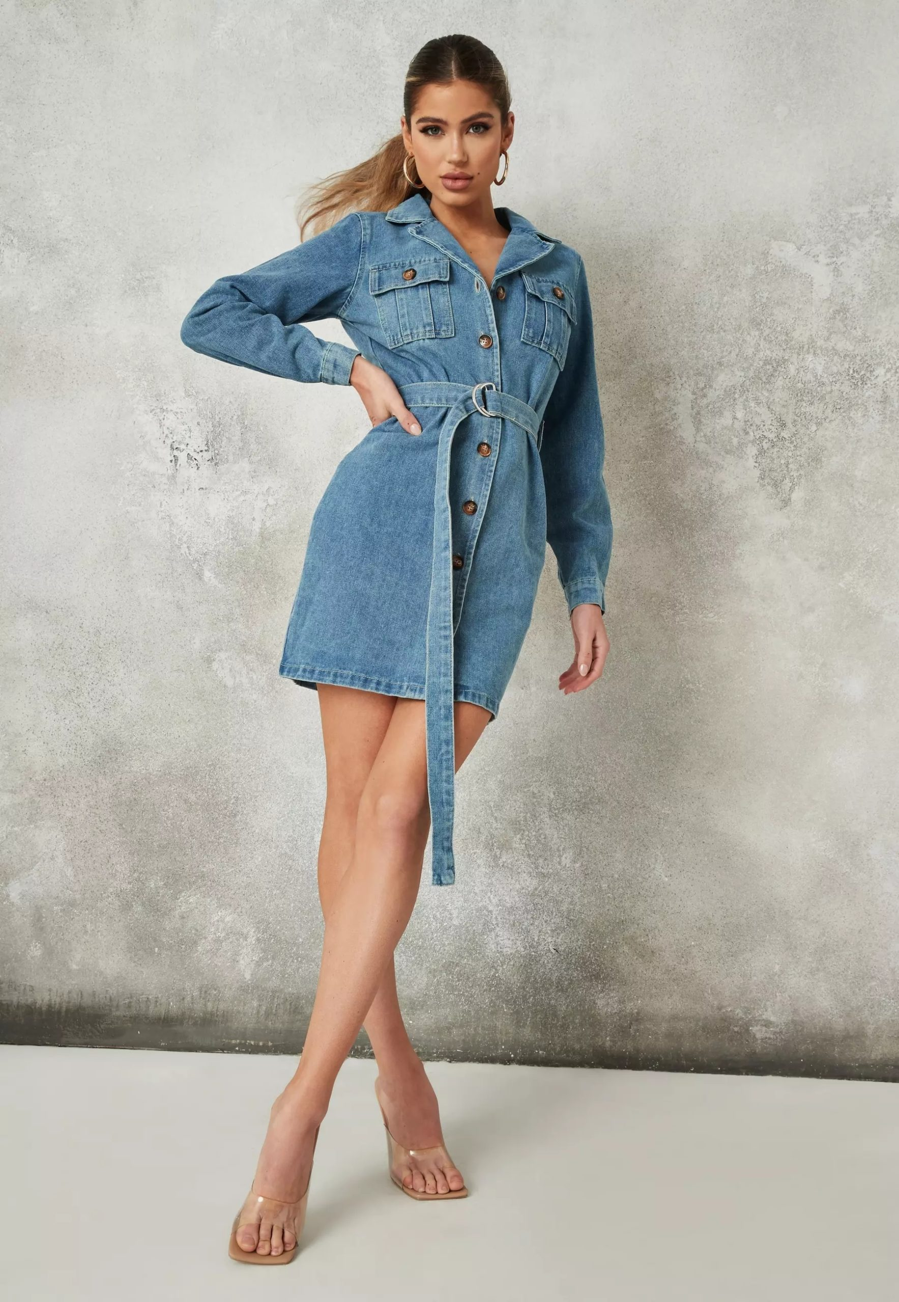 blue button through denim shirt dress