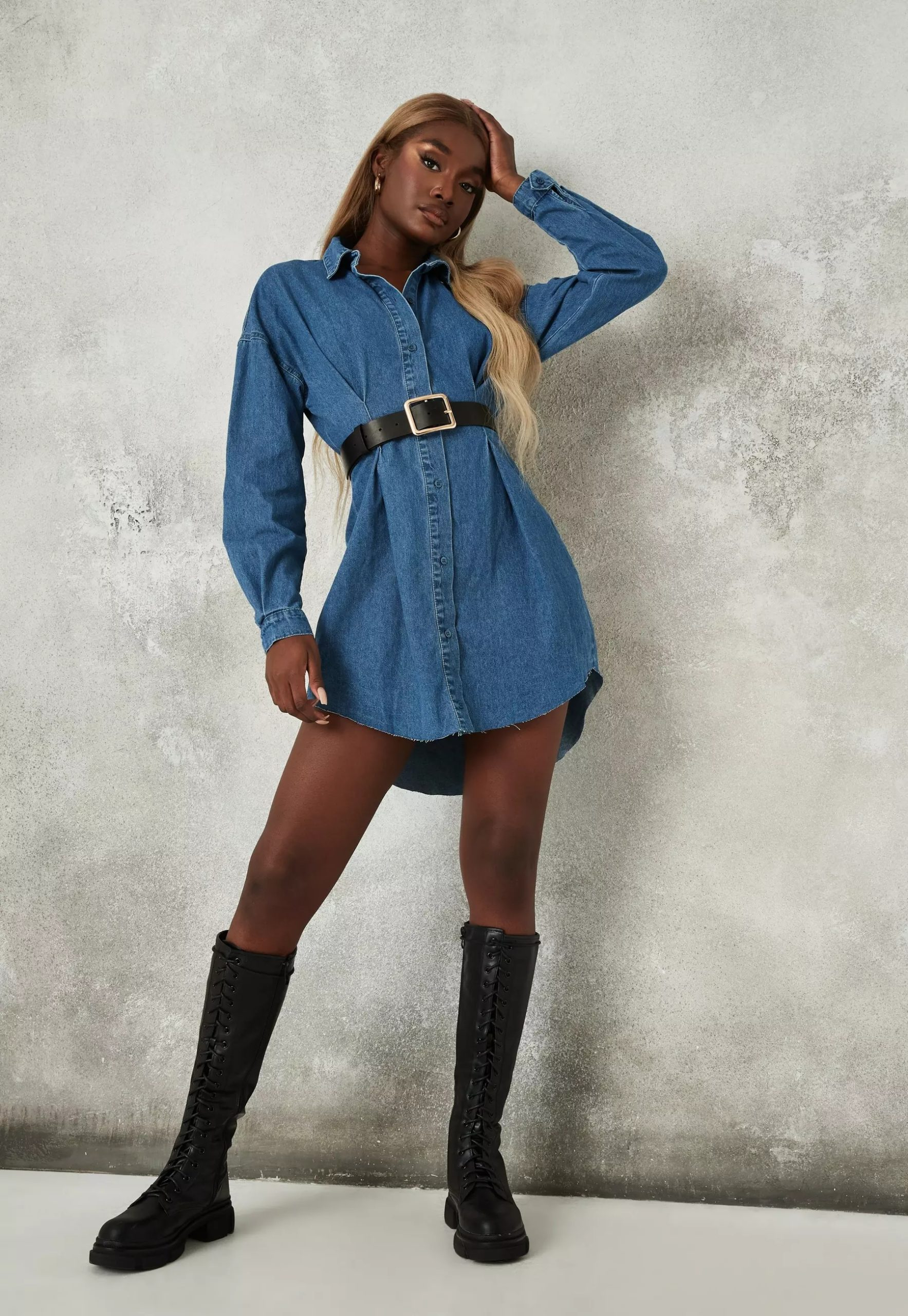 blue cinched waist denim shirt dress