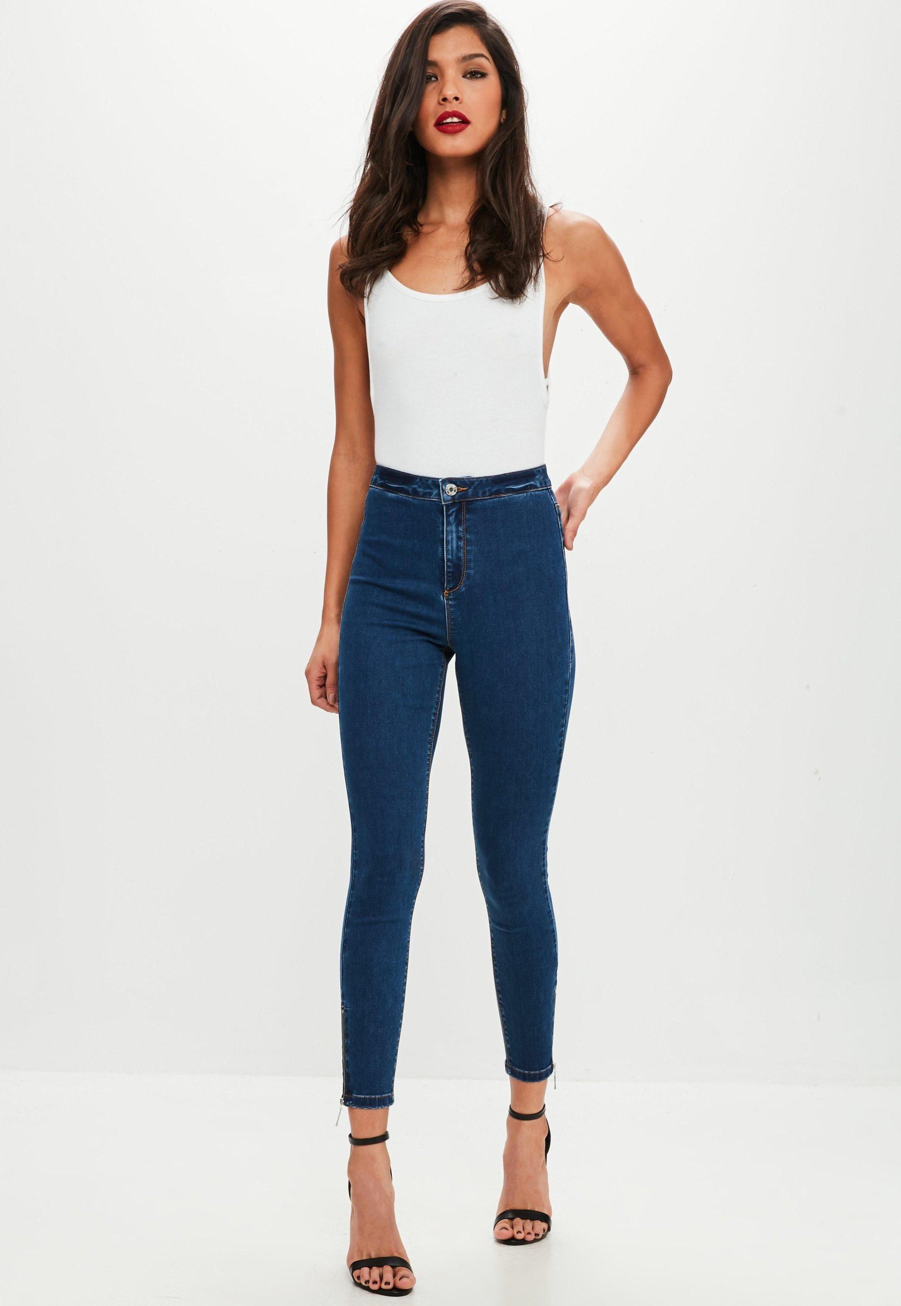 blue high waist ankle jeans
