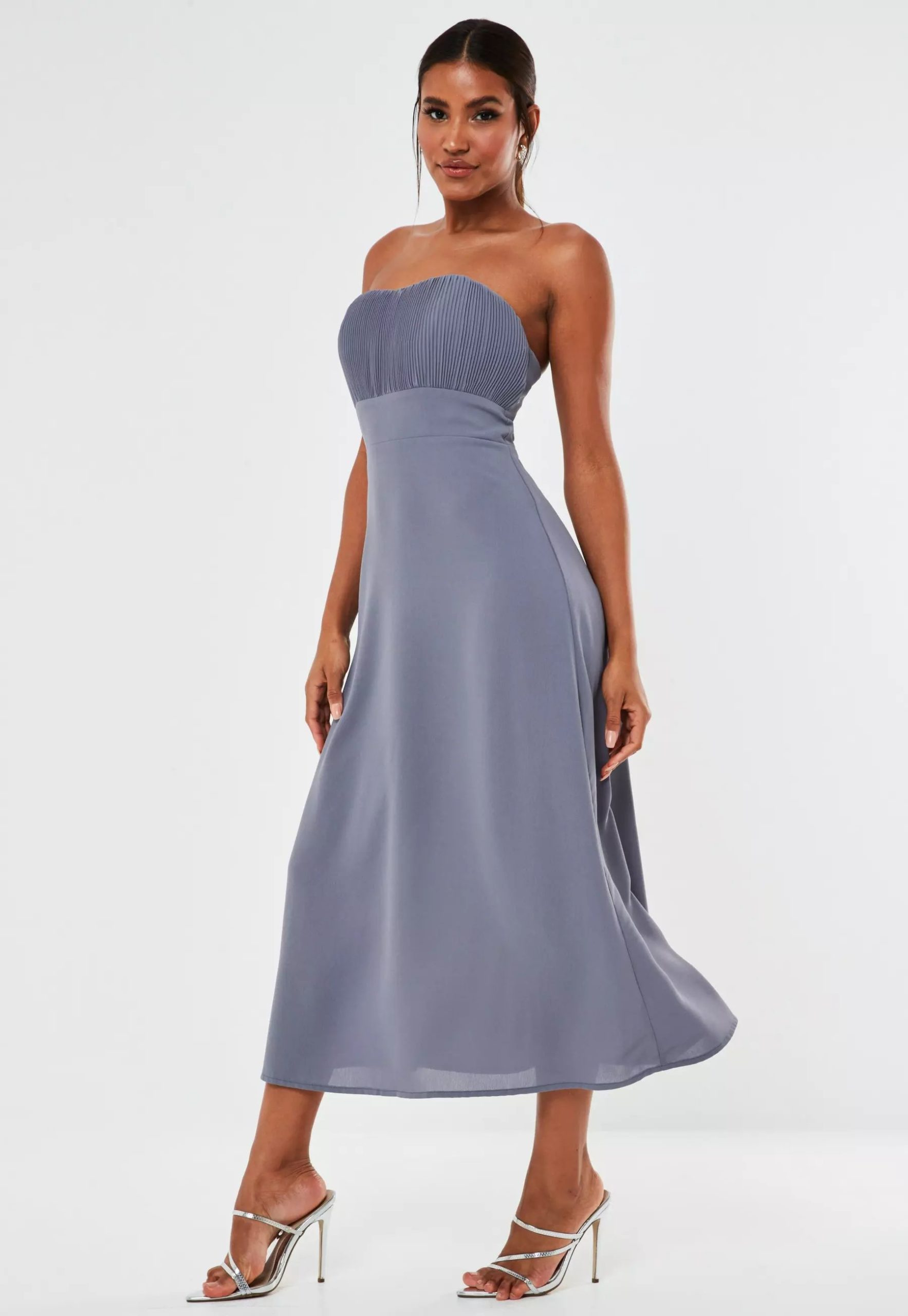 blue pleated bust strapless midaxi bridesmaid dress