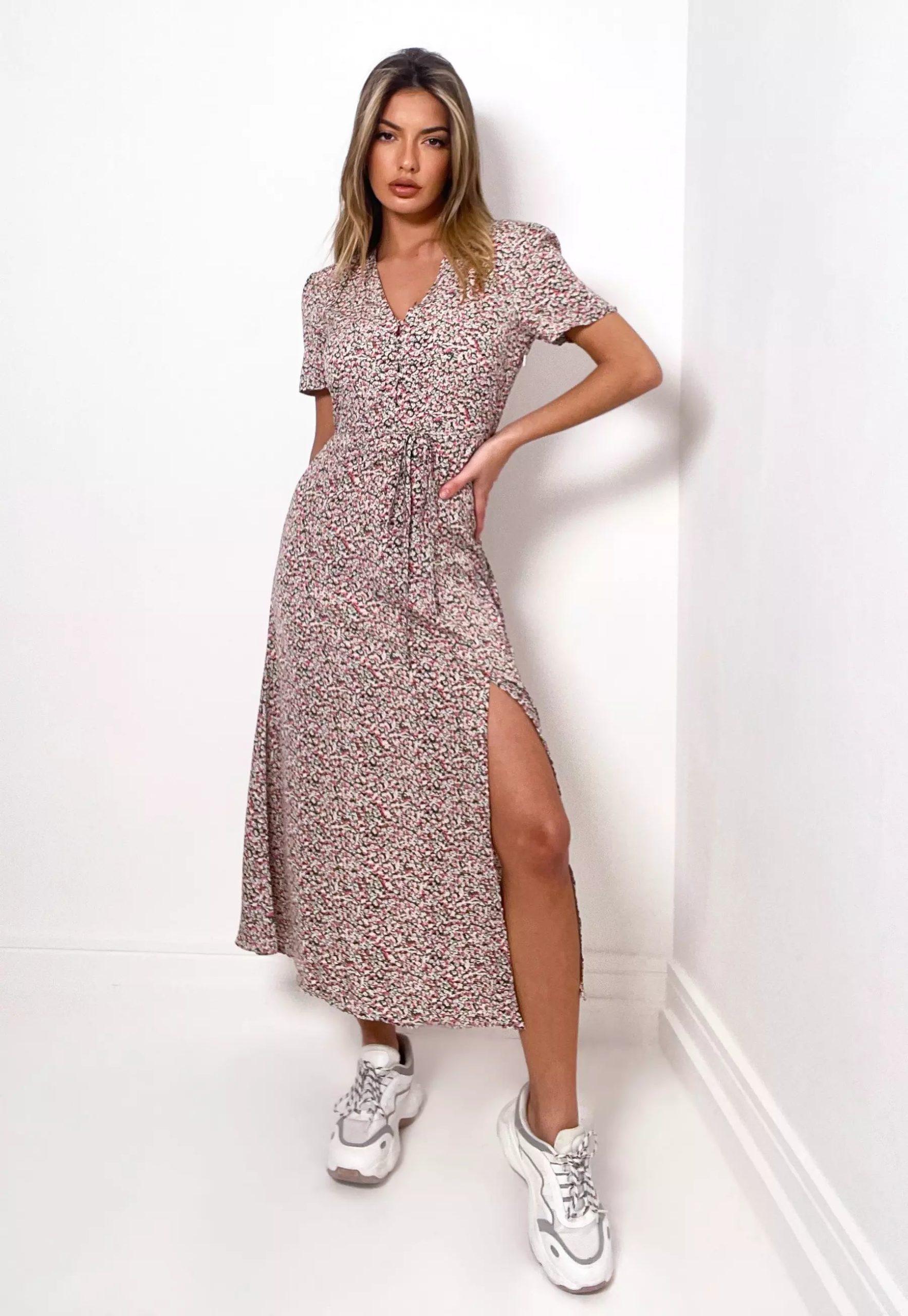 blush floral print split hem midi dress