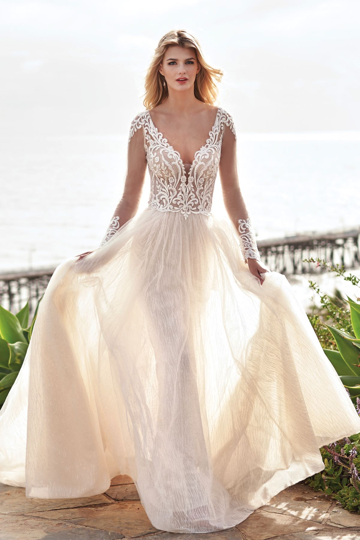 V-neck Line with Embroidery White Lace Maxi Dress