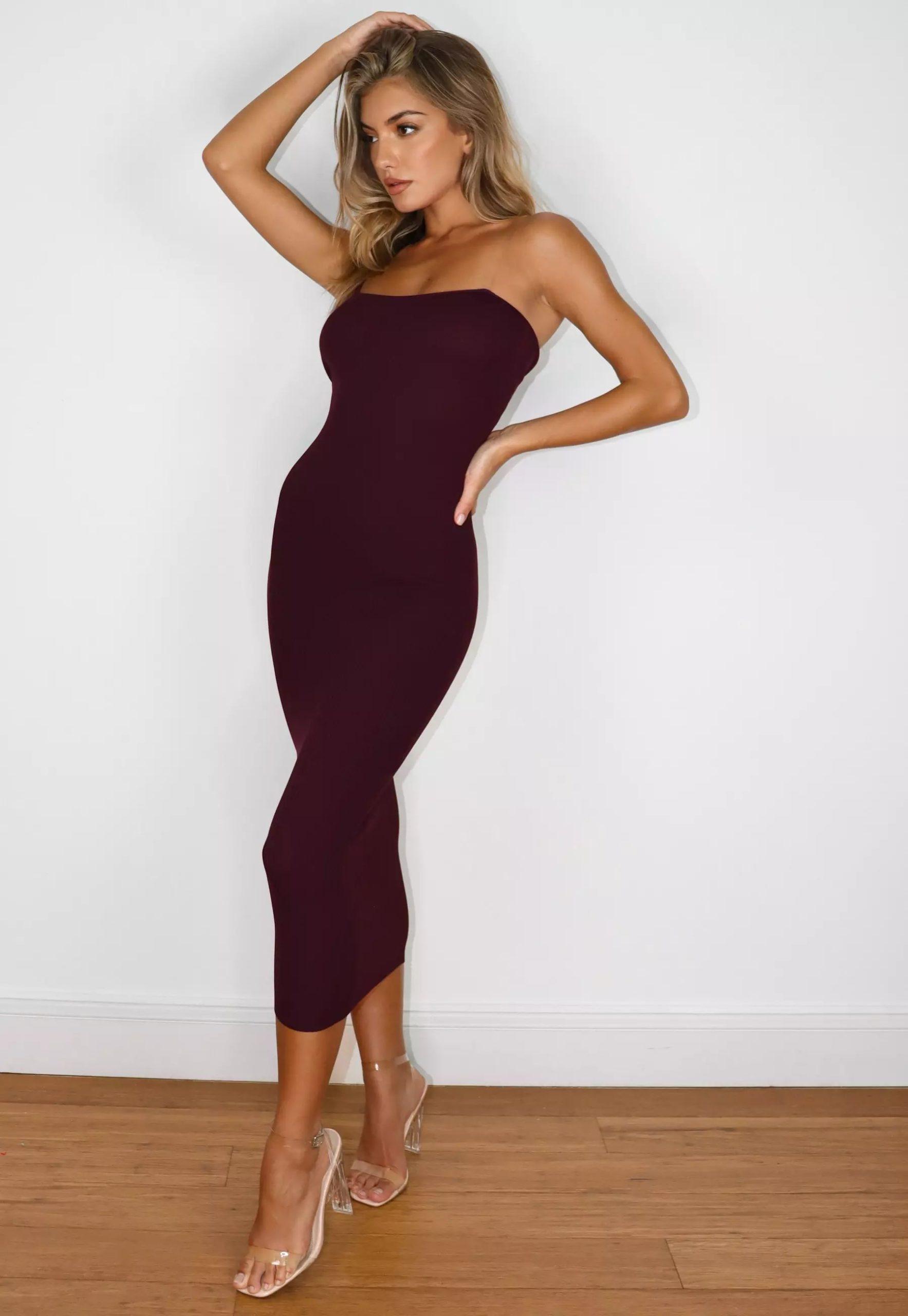 burgundy transparent strap knit midaxi dress