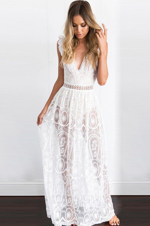White Lace Maxi Dress