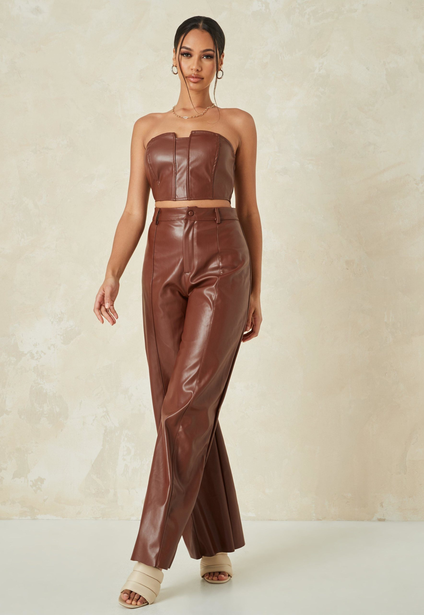 chocolate co ord faux leather wide leg trousers