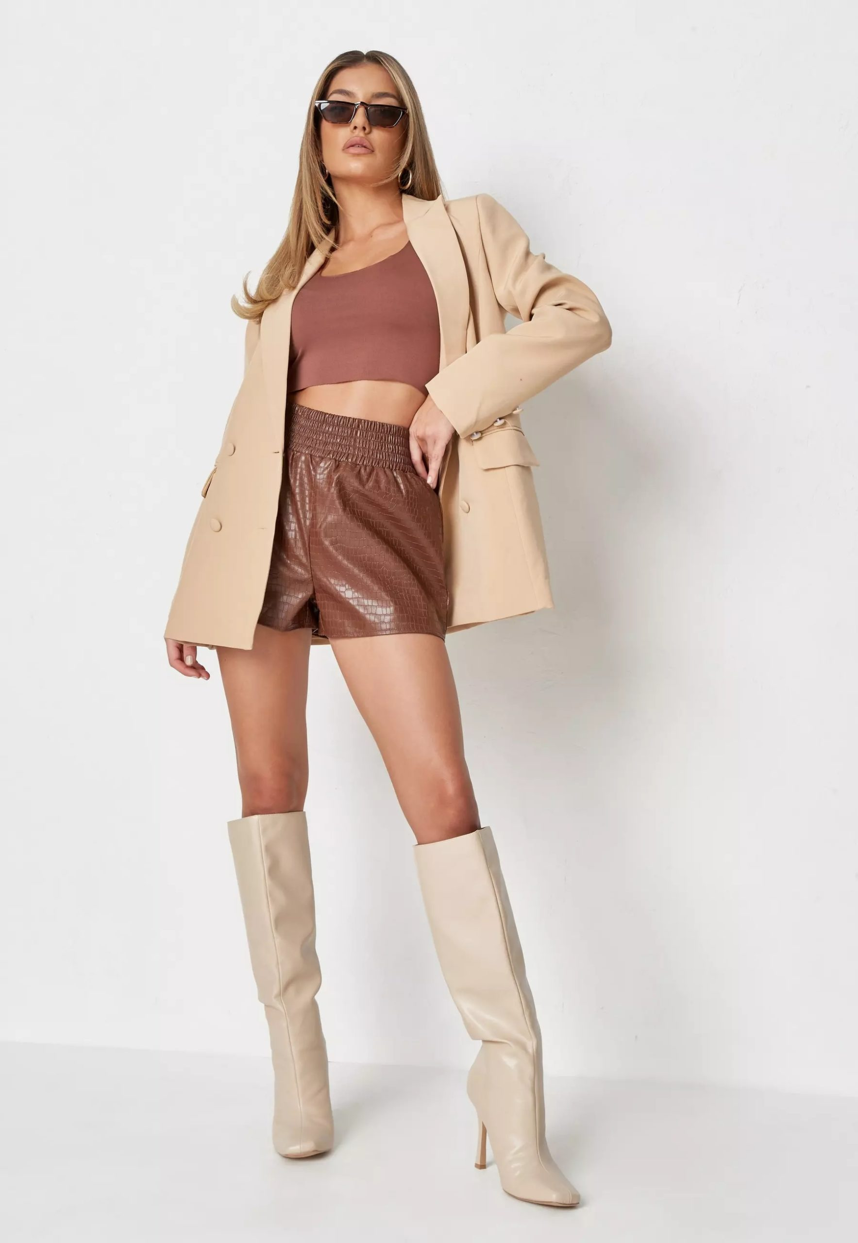 chocolate faux leather croc runner shorts