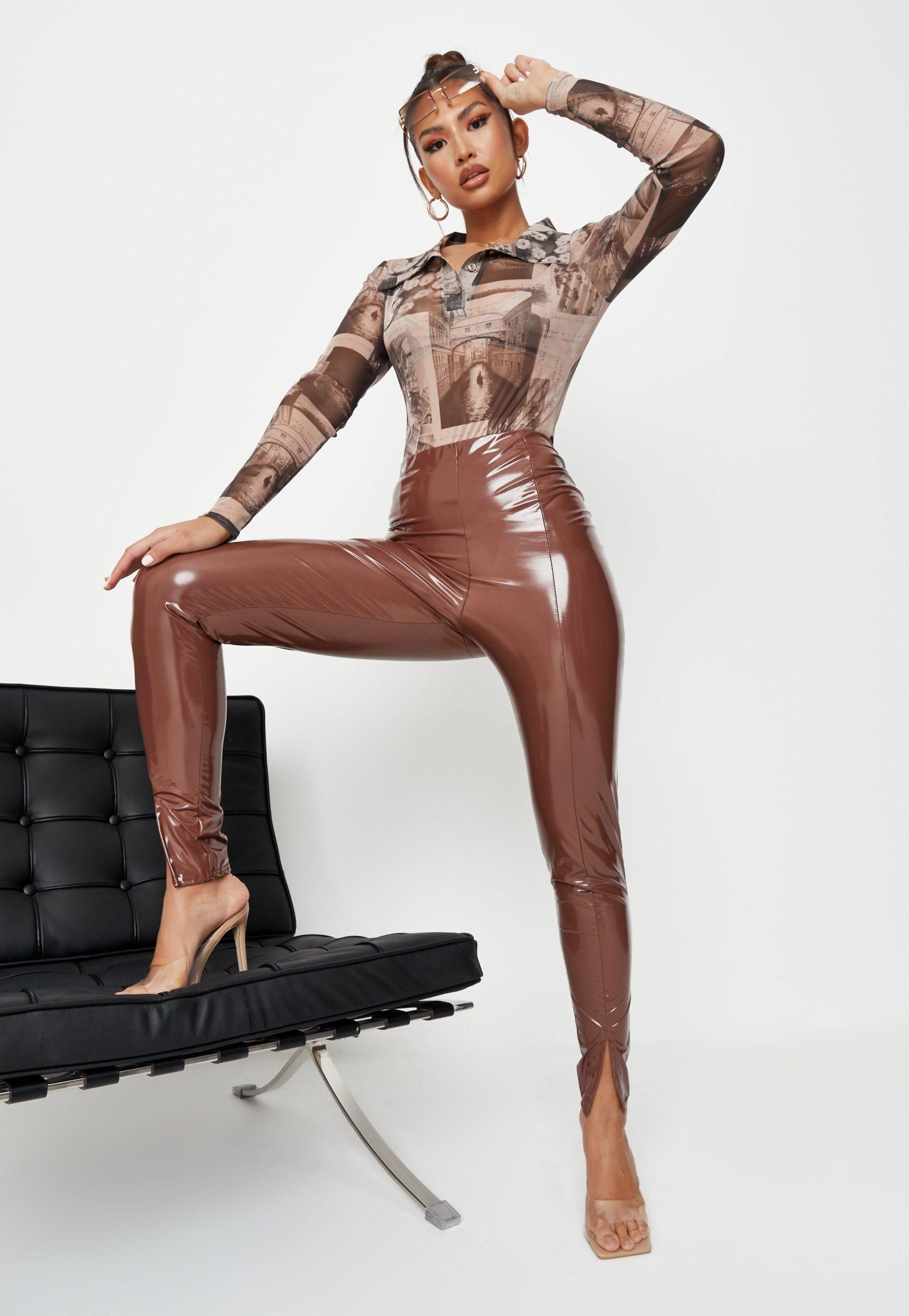 chocolate split front vinyl leggings