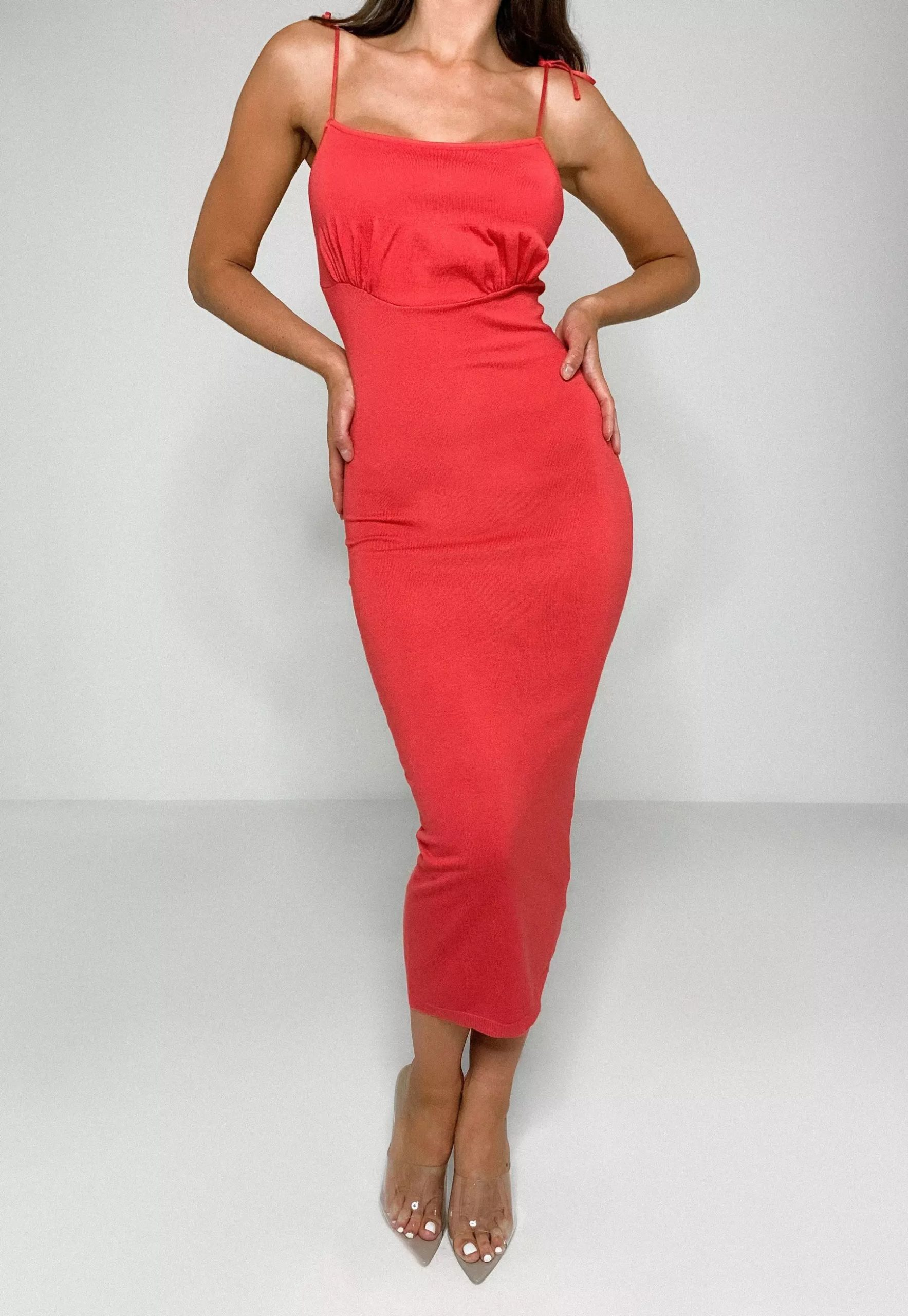 coral ruched bust knit midi dress