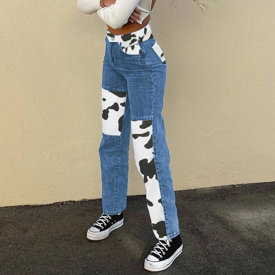 cow print patched jeans - two tone contrast patched casual jeans