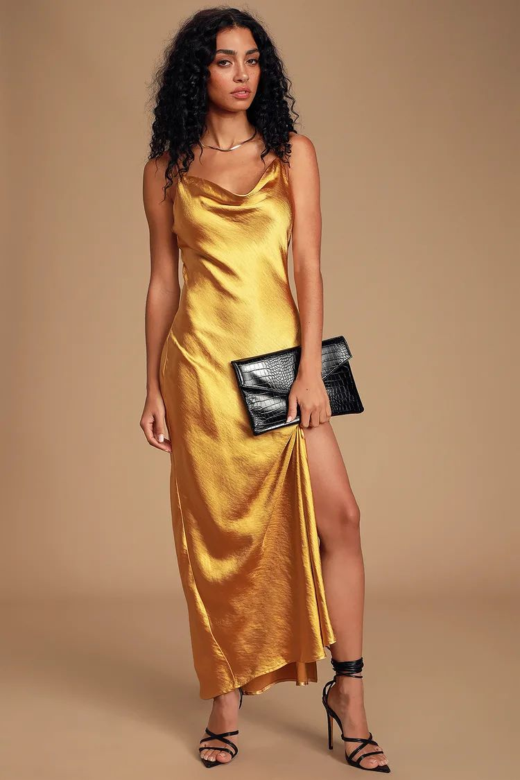 cowl neck gold slip dress