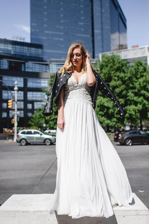 White Lace Maxi Dress with leather black jacket