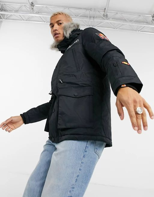 ellesse parka jacket with faux fur hood in black