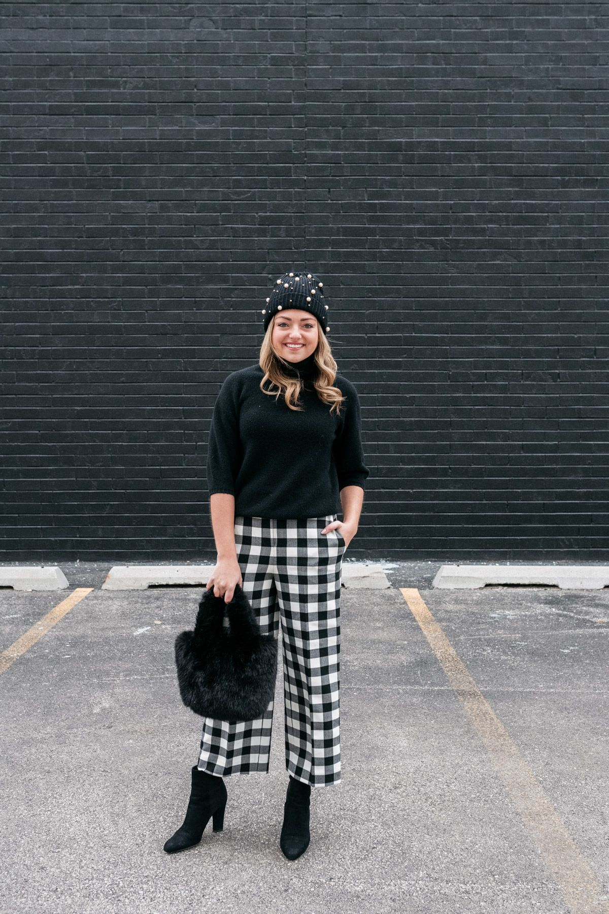 Gingham Pants with Turtleneck Top