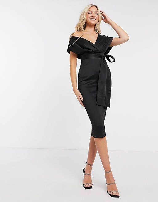 midi dress with self tie belt in black