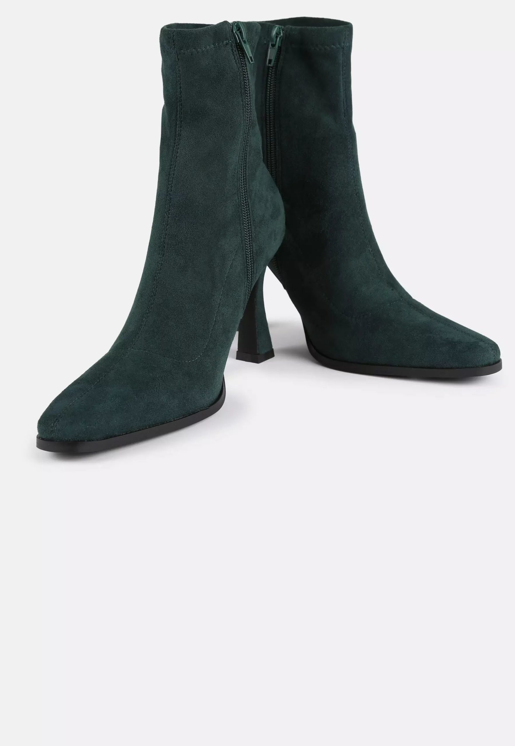green faux suede feature heel sock boots