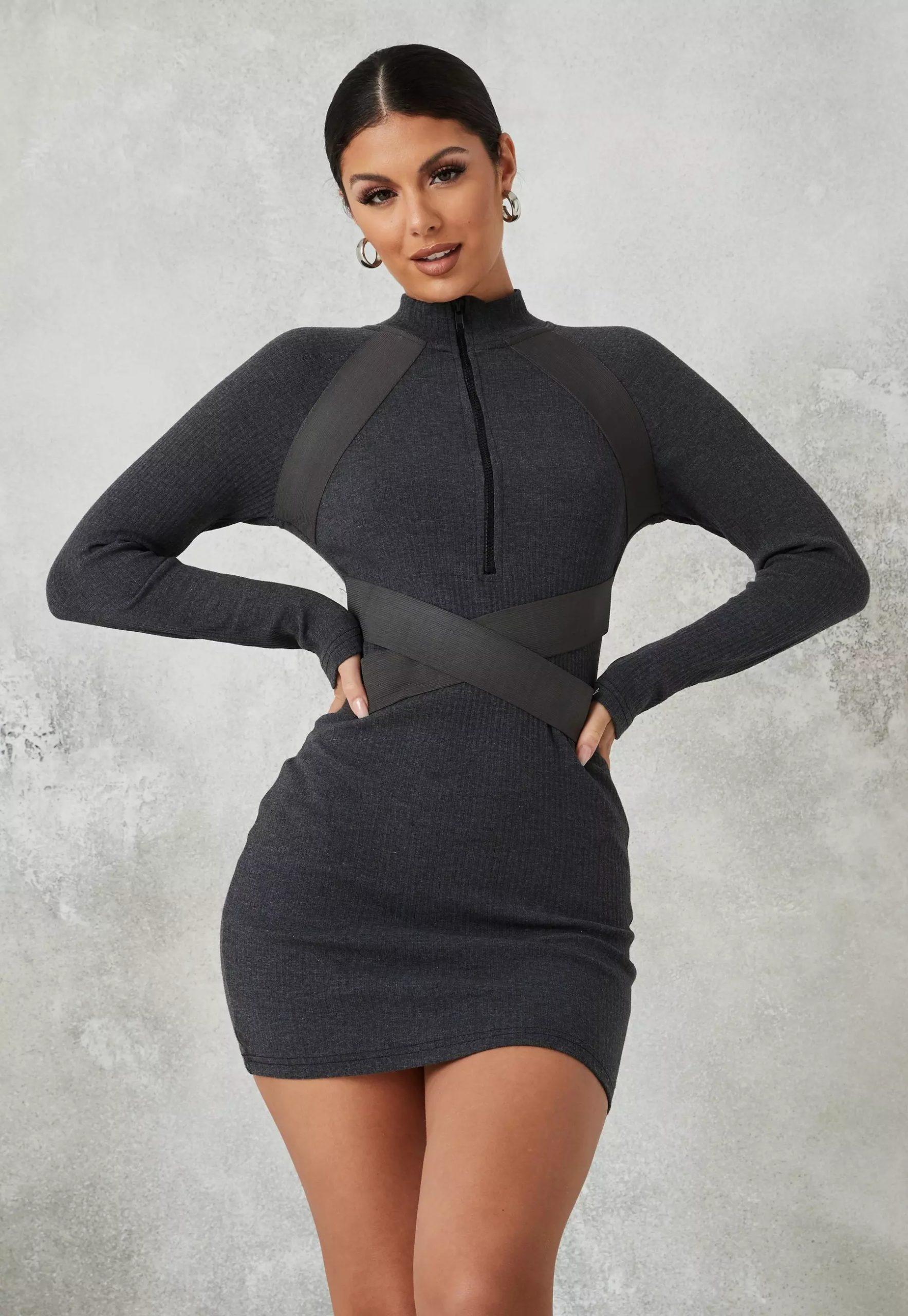 grey rib high neck zip front mini dress