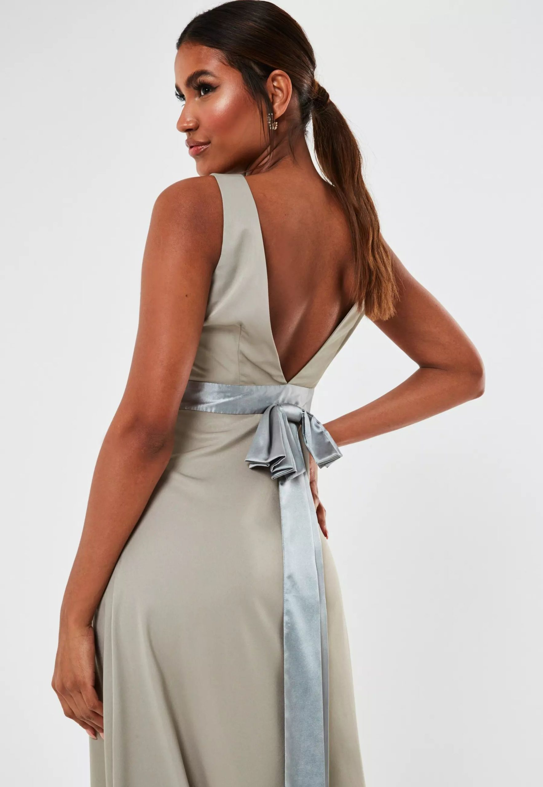 grey sleeveless low back bow maxi bridesmaid dress