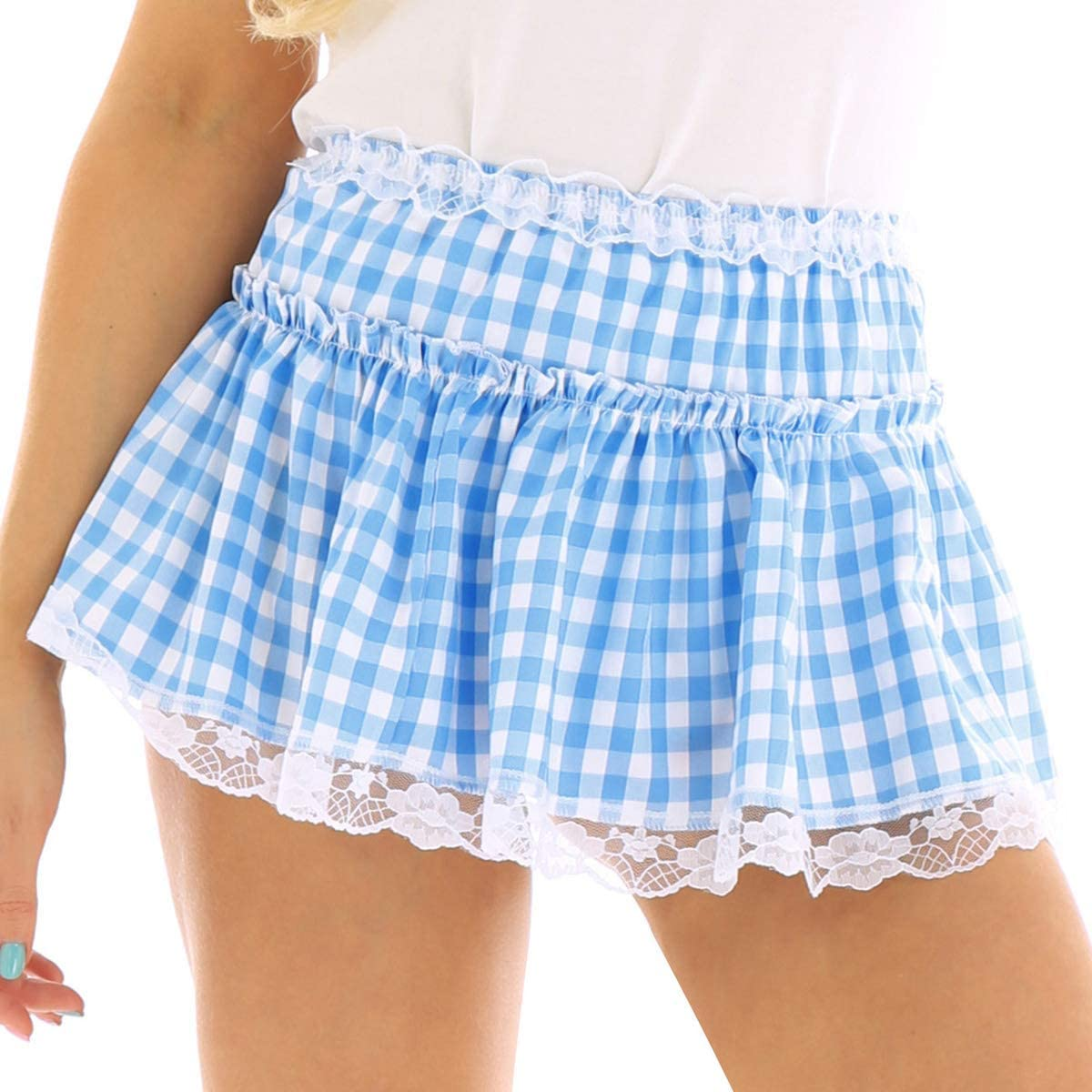 iixpin Unisex Men Women A-Line Plaid Wool Blend Elegant Pleated Skirt