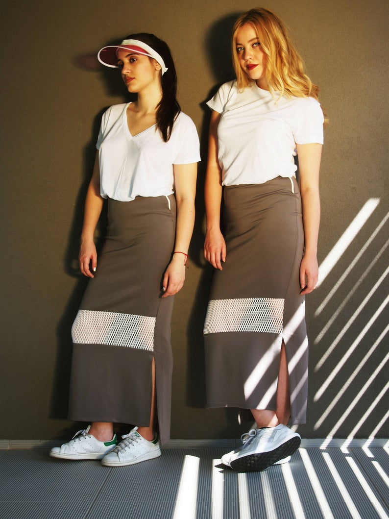 Long Tube Skirt w. White Sheer Detail, Neoprene Maxi Fitted Elastic Skirt