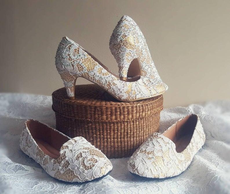wedding shoes flat lace