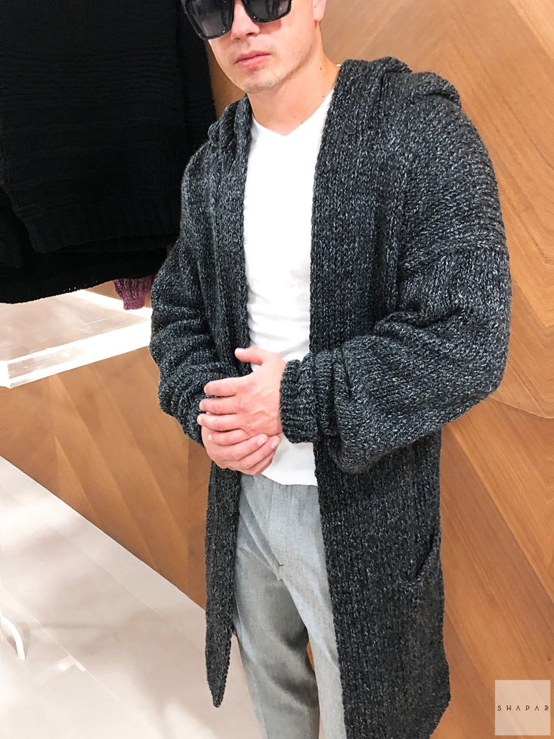 Men's long cardigan