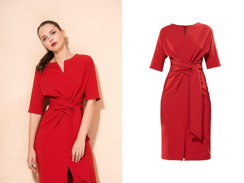 Red casual dress tied in waist midi dress