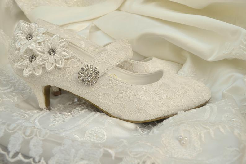 ELENA Bridal vintage Mary Jane ivory strap style low mid heel shoes with lace flowers