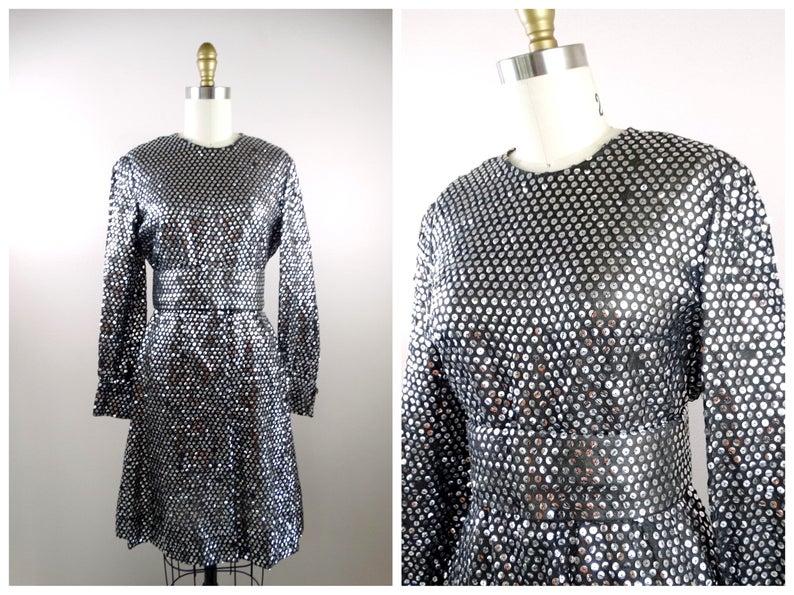 Black and Silver Sequin Embellished Dress
