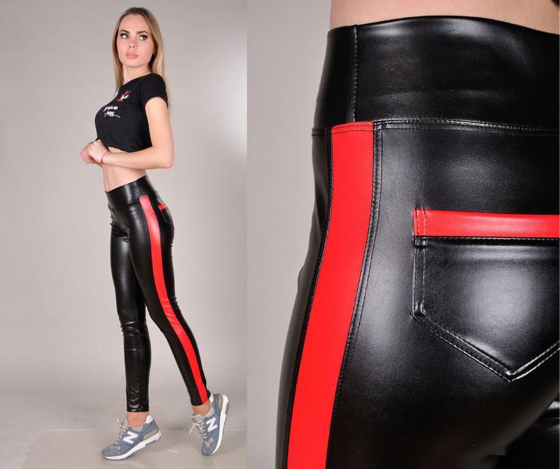 Red & Black Leather Leggings