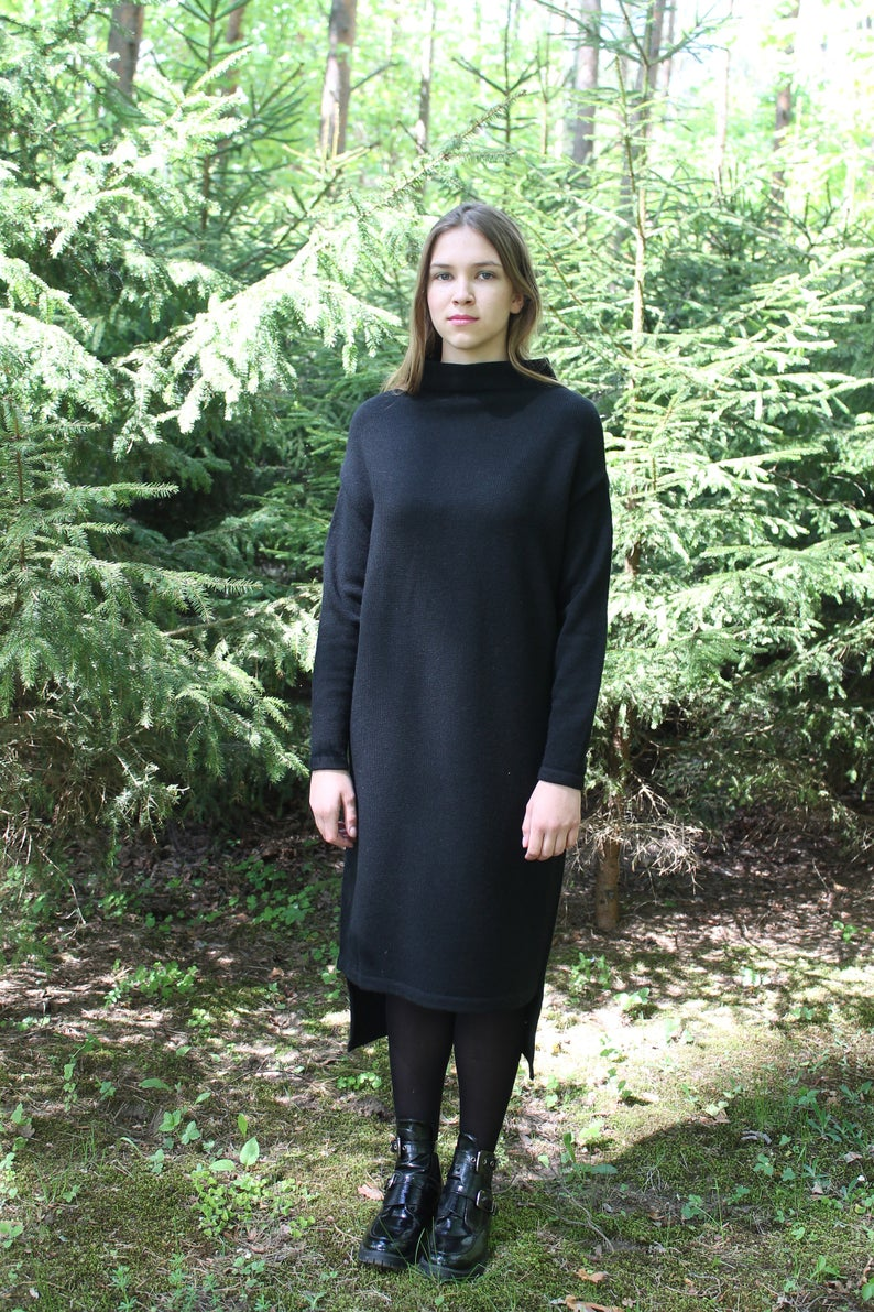 Woman long knitted dress with long sleeves Very comfortable original dress