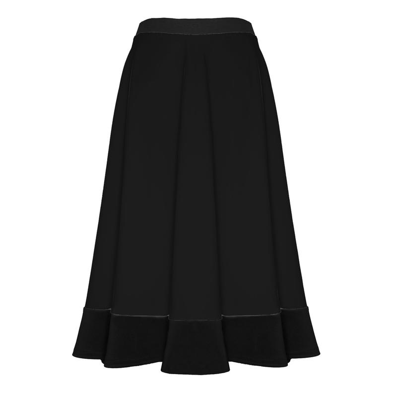 Womens Ladies Mid Length Scuba Stretch Flared Skater Swing Long Midi Skirt
