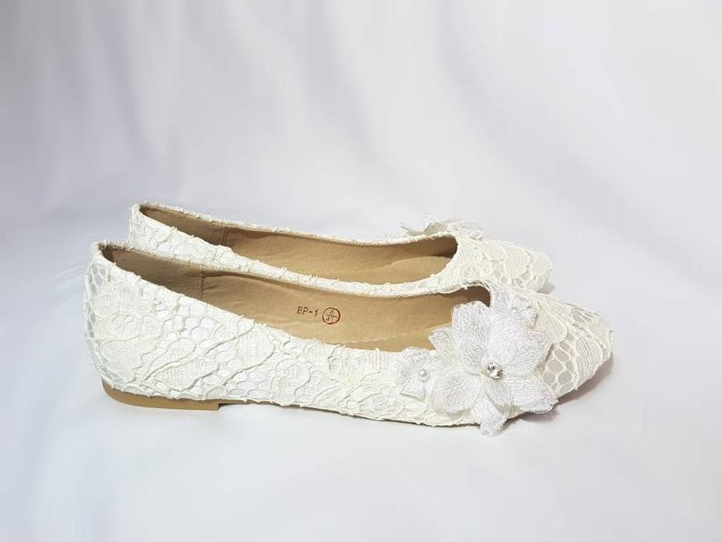 Lace Flower Wedding Shoes flat
