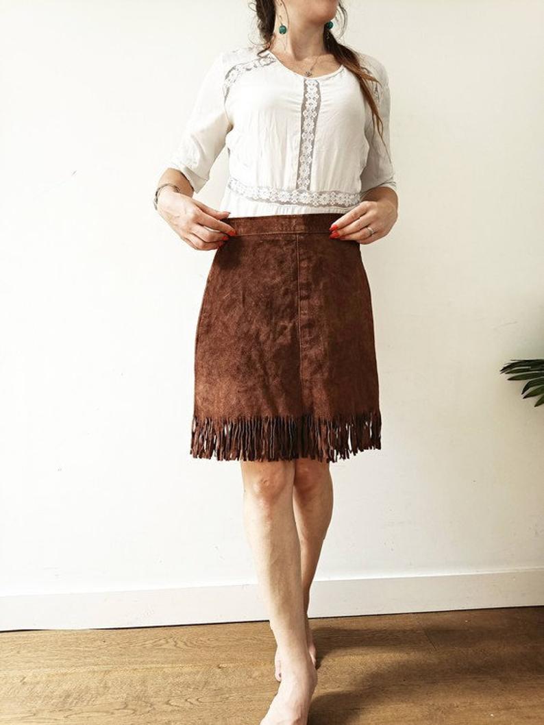 Ethnic Suede Skirt | Native American Tassel Skirt | Hippie Leather Skirt