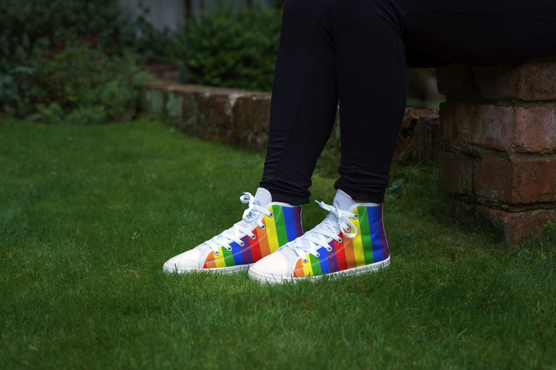 Pride Canvas Shoes. High Top or Low Top Sneakers.