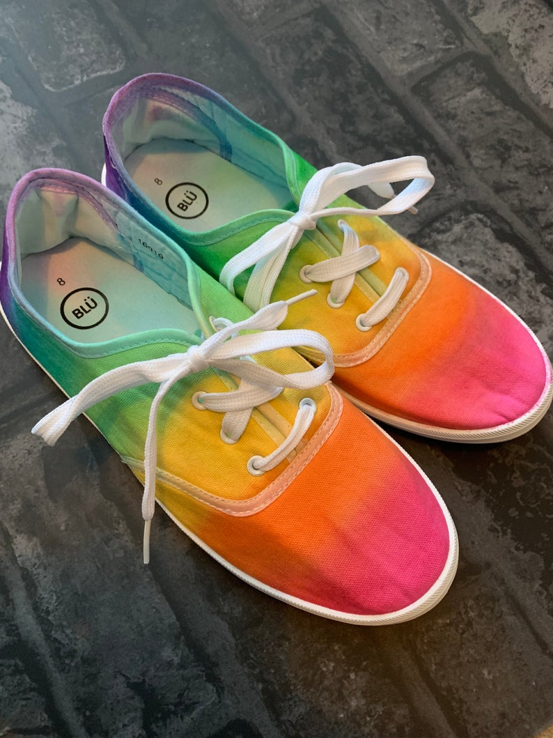 Unisex Adults Rainbow Tie Dye Trainers Sneakers Shoes
