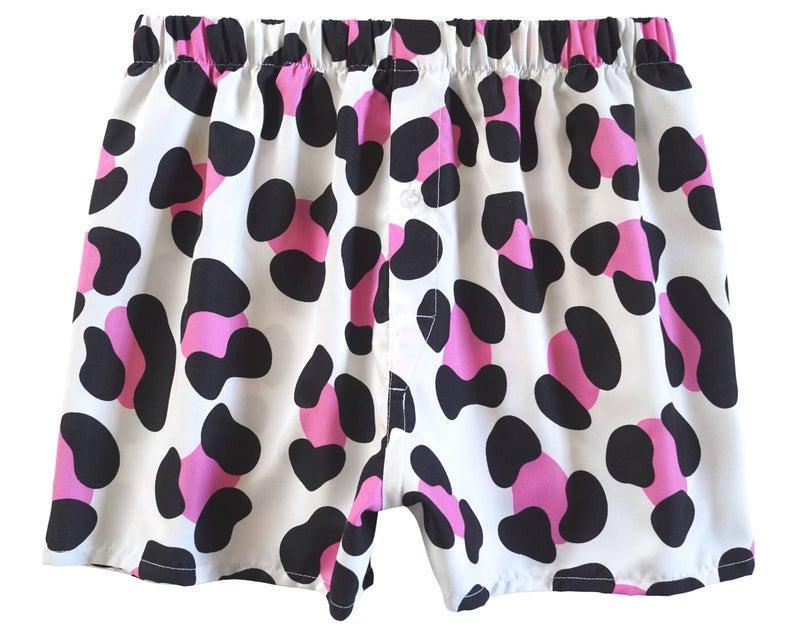 pink cow print boxer shorts