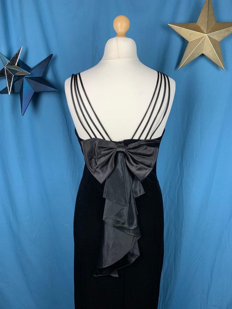 velvet bow back straps evening dress
