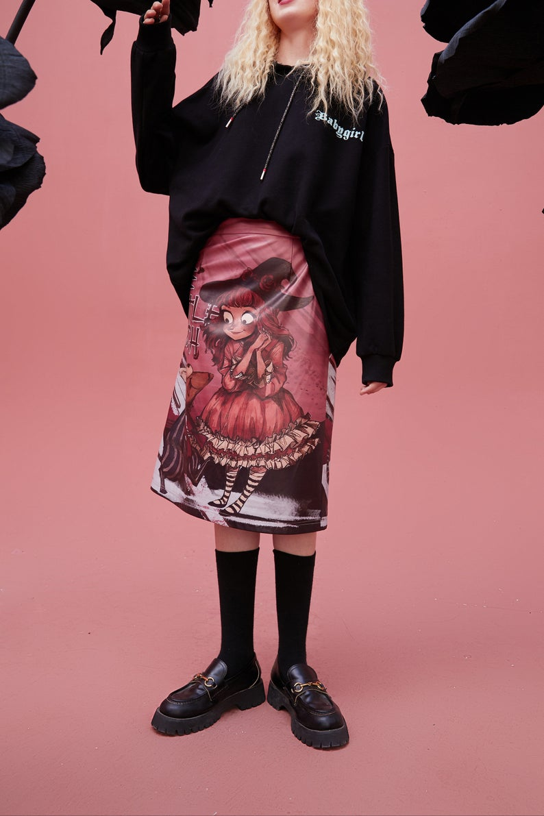 Graphic High Wasit Korean Vintage Leather Midi Skirt