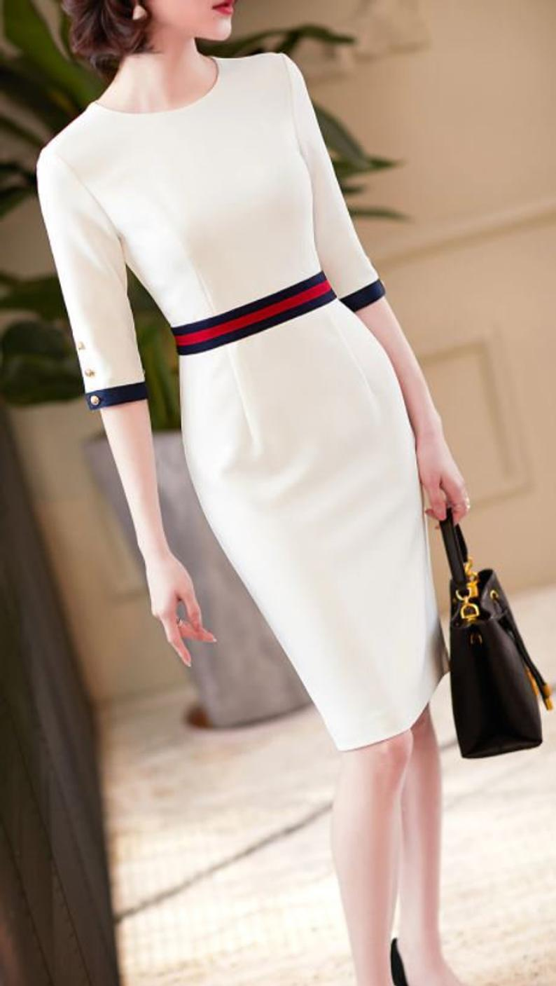 Ladies Pencil Midi Dress Smart Office Style Red Navy Blue Stripe Ivory Dress