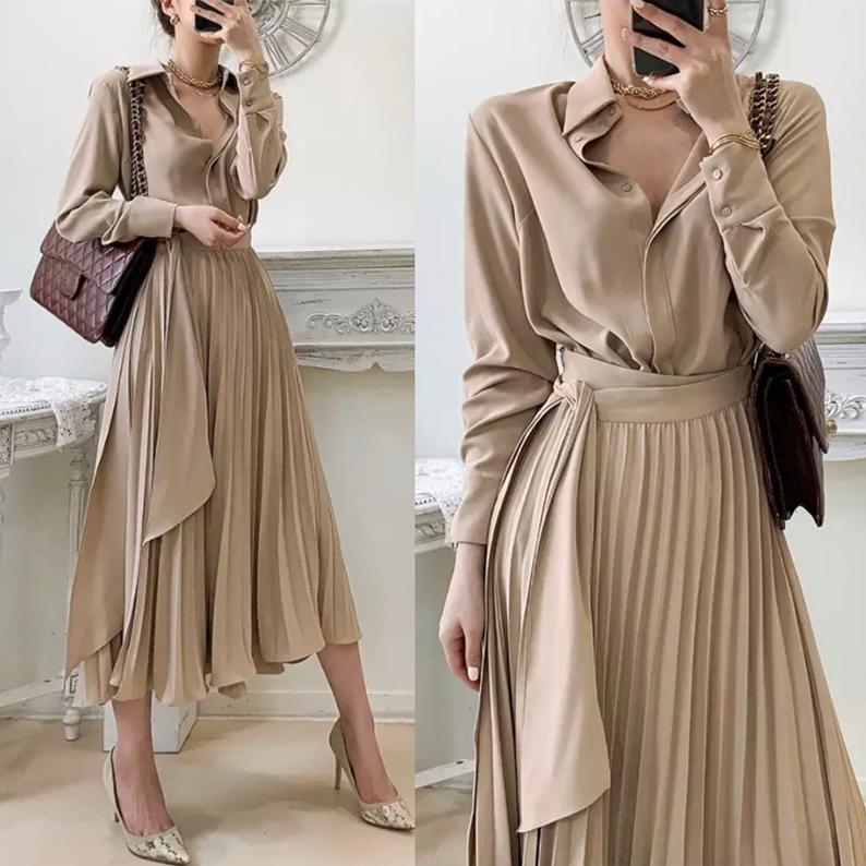 Elegant shirt buttoned up pleated Dress With belted wrap Midi modest spring summer fashion trend Dress