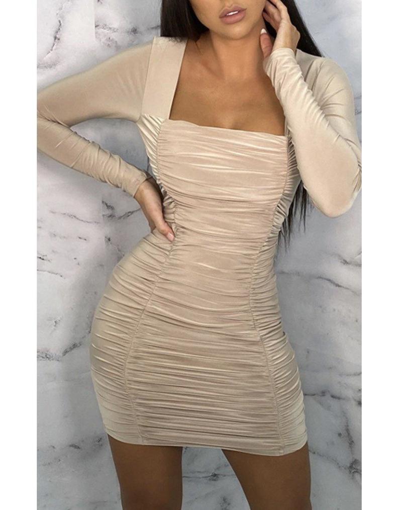 New ladies Nude Square Neck Ruched Bodycon Mini Dress