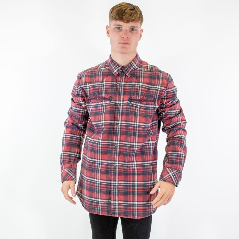 Levi's Shirt Checked Long Sleeve Casual Red - Men's