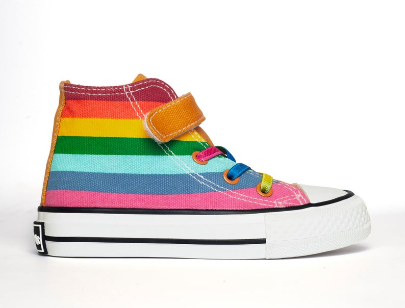 Rainbow Bright Yellow Rainbow Canvas Hi top sneakers