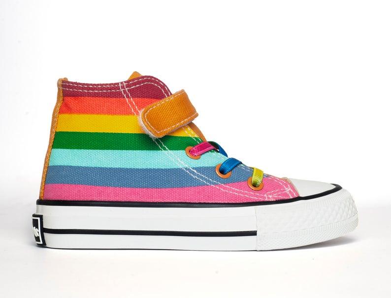 Rainbow Bright Yellow Rainbow Canvas Hi top sneakers