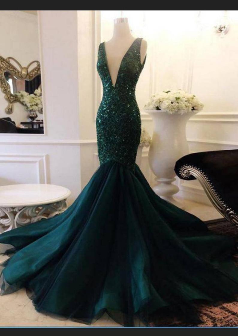 Green sequins mermaid dress