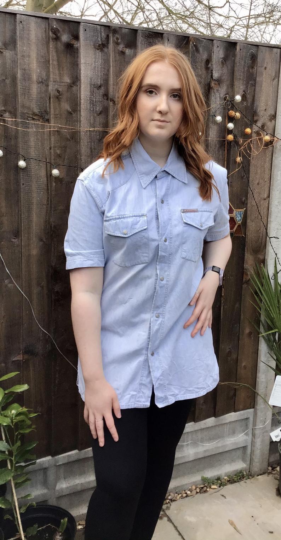 acid wash pale western style shirt large