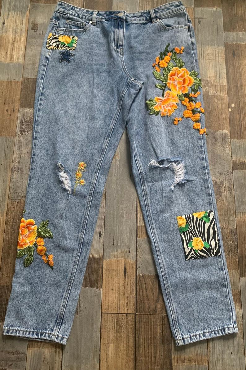 embellished hand embroidered jeans