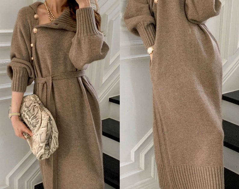 Women Knitted Cashmere/Cotton Blend Long Sleeve Turtleneck Dress with Belt and Pocket Very Soft and Comfortable Clothing