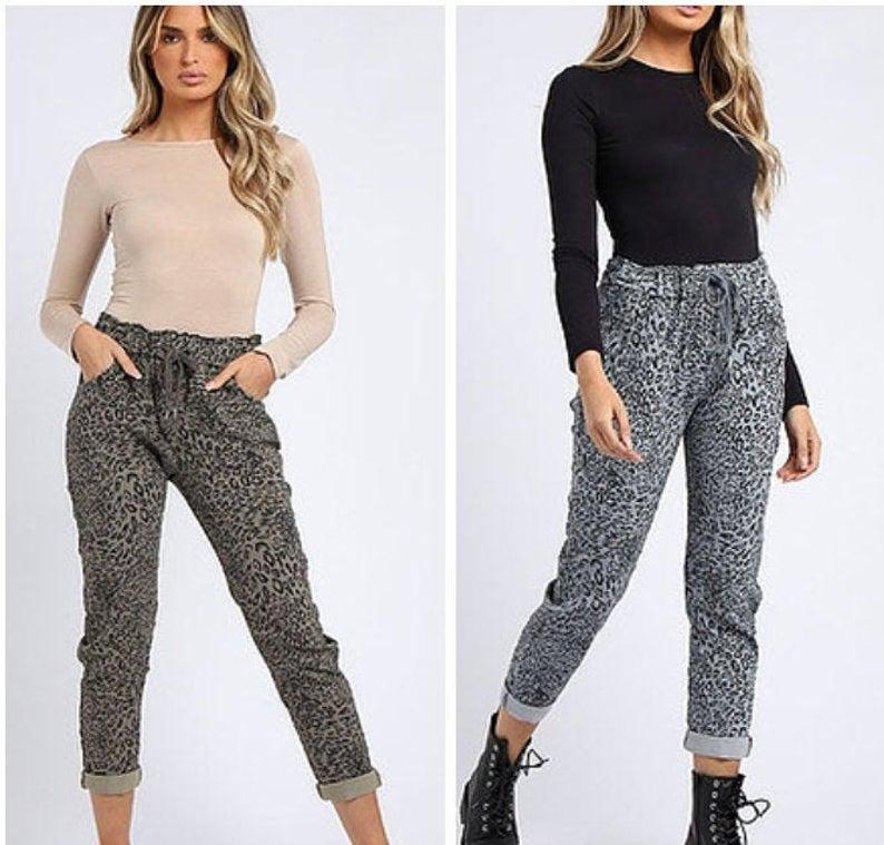 Print Magic Pants Trousers Joggers Capris Comfort Casual One Size Khaki Grey
